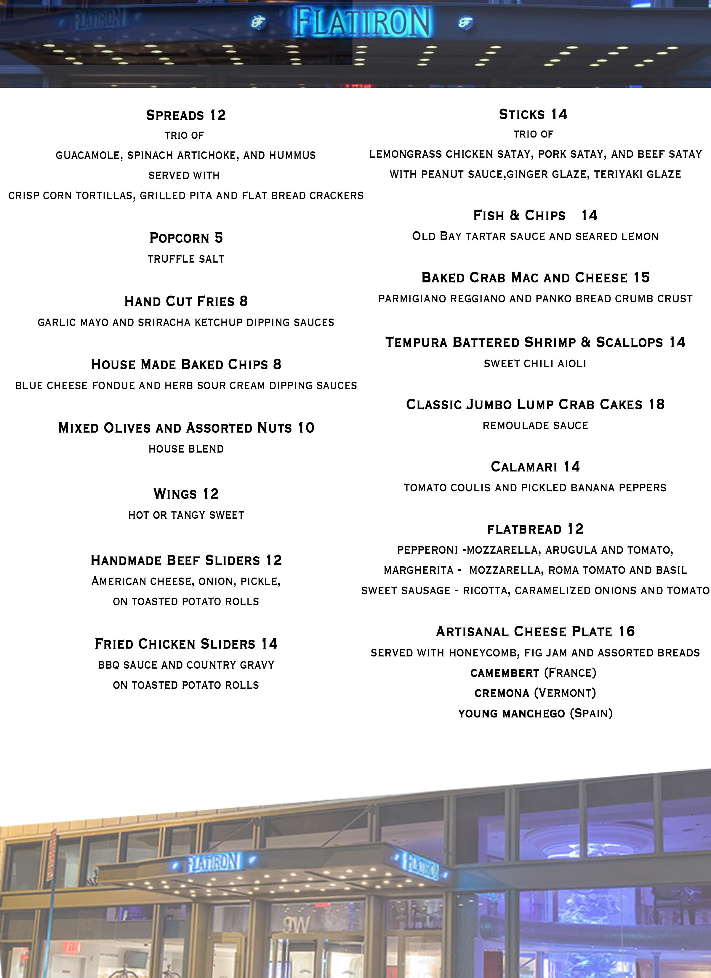 Food menu at Toshi\'s Penthouse and Living Room in NYC